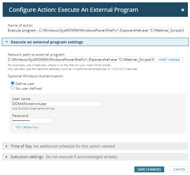 Configure Action - Execute An External Program (Insight Image) - Prosperon Networks